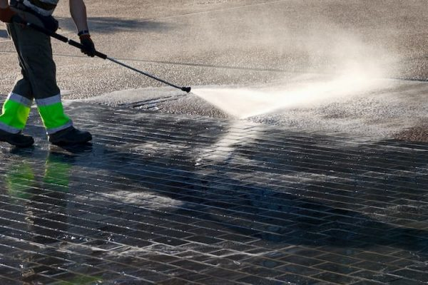 pressure washing a commercial space